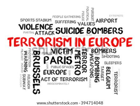 Terrorism in Europe word cloud - stock photo