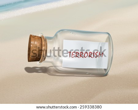 terrorism message in a bottle isolated on beautiful beach - stock photo