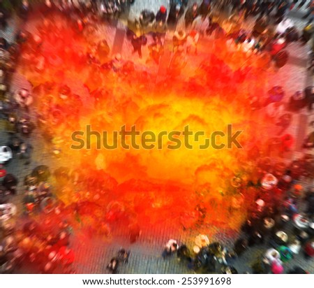 Terrorist blows himself up in the center of the crowd. The image depicts an fake explosion between people. - stock photo