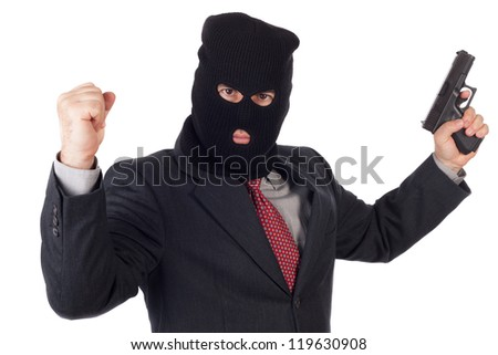 terrorist Business man with a gun celebrating victory.