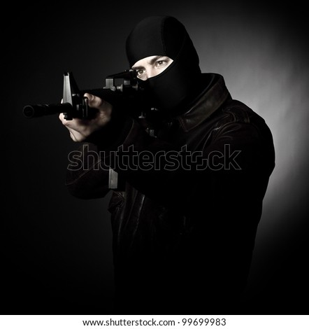 terrorist portrait  with m4 weapon