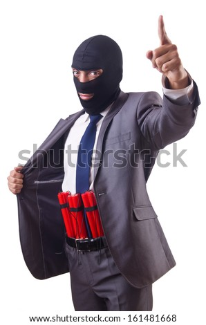 Terrorist with dynamite isolated on white - stock photo