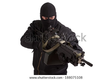 terrorist with machine gun isolated - stock photo