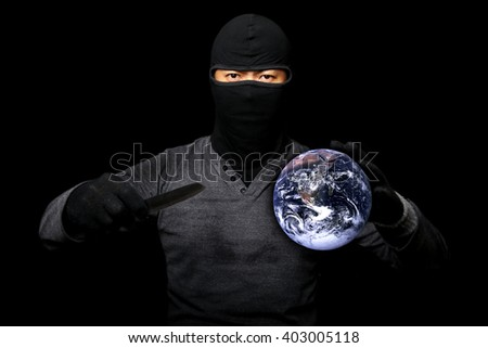 Terrorists take the world hostage.Elements of this image furnished by NASA