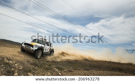 TERUEL, ARAGON/SPAIN - JULY 19: Dutch Driver, Erik Van Loon tries to get a good result in SS2 in Baja Aragon Rally on July 19, 2014 in Teruel - stock photo
