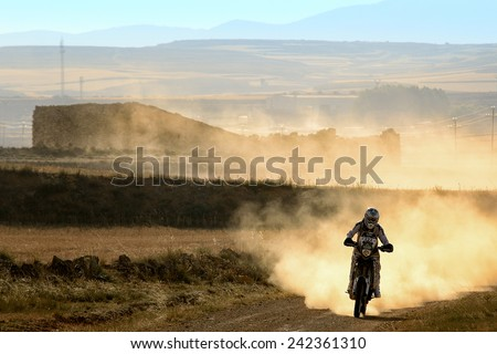 TERUEL, SPAIN - JUL 19 : French rider Kevin Dardaillon in a Yamaha 450 WRF races in the XXXI Baja Spain, on Jul 19, 2014 in Teruel, Spain. - stock photo