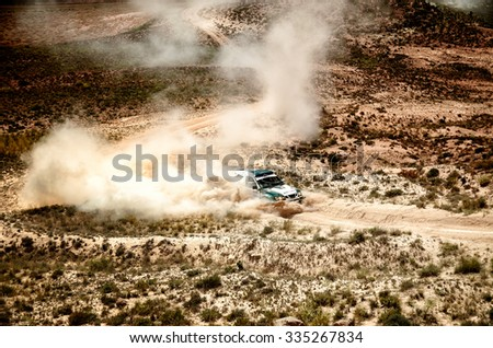 TERUEL, SPAIN - JUL 25 : Spanish driver Jose Manuel Salinero and his codriver Eduardo Izquierdo in a Nissan Proto Dakar race in the XXXII Baja Spain, on Jul 25, 2015 in Teruel, Spain.