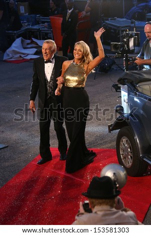 Tess Daly and Bruce Forsyth arriving for Strictly Come Dancing red carpet launch event held at Elstree studios, London. 03/09/2013