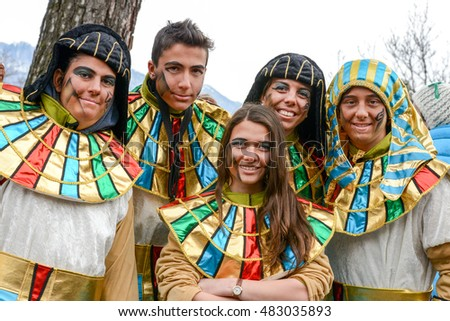 Tesserete, Switzerland - 13 February 2016: people posing at the carnival of Tesserete on the italian part of Switzerland