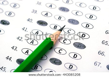 Test answer sheet with pencil. Examination test. Education conce - stock photo