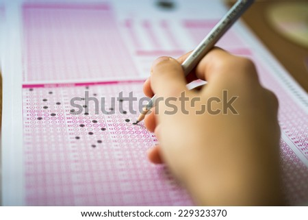 Test Paper and Pencil - stock photo