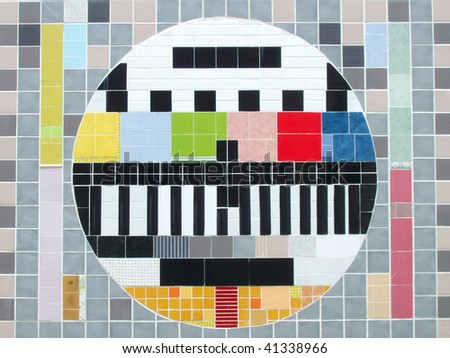 Test pattern. Routine maintenance, which could be observed in tv's of Russia. It is a picture of a maintenance break, when channel owners have technical problems. - stock photo