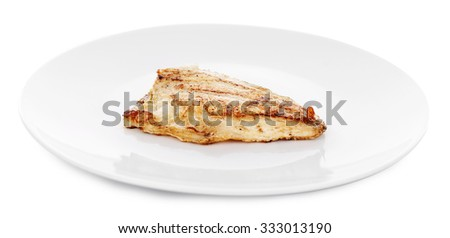 Test roasted fish fillet on plate isolated on white - stock photo