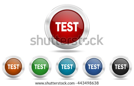 test round glossy icon set, colored circle metallic design internet buttons