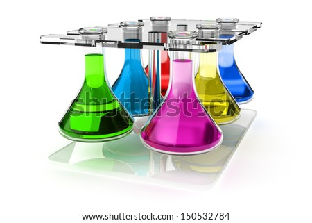 Test tube holder with bottles of liquid of different colors. Laboratory equipment. - stock photo