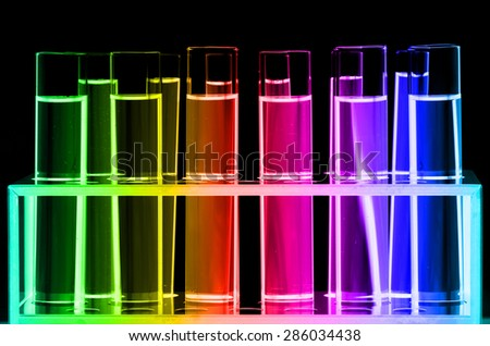 Test Tube in Close-up on Black Background.
