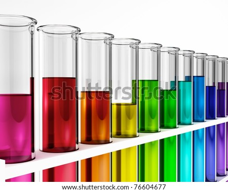 test tube - rainbow colored - chemical - stock photo