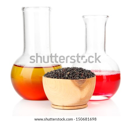 Test tube with bio fuel from rape seeds, isolated on white - stock photo
