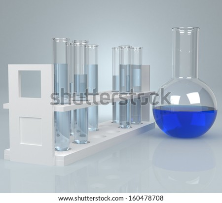 Test-tube with blue liquid . Computer generated - stock photo