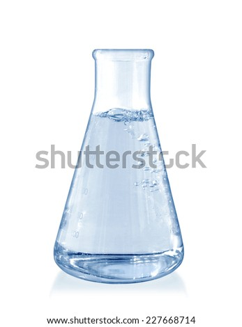 Test-tube with blue liquid on a white background - stock photo