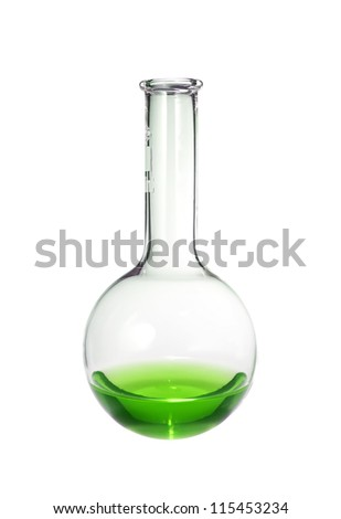 Test-tube with green liquid isolated on white - stock photo