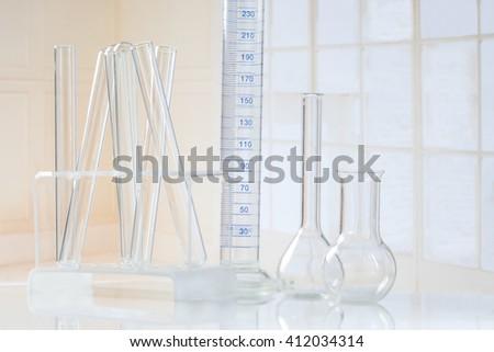 Test-tubes and laboratory glassseware - stock photo