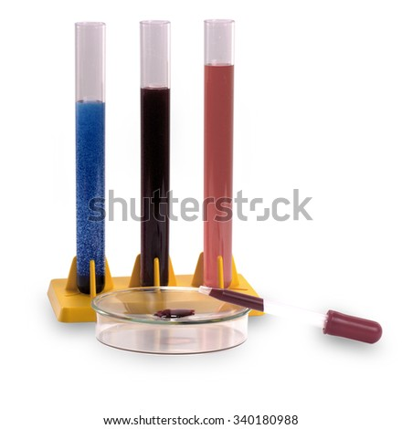 test tubes and pipette for scientific researches on white background - stock photo
