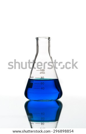 Test tubes blue liquid, Laboratory Glassware for chemical research