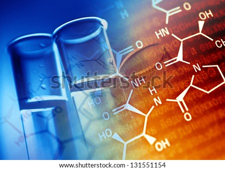 Test tubes in green tone. - stock photo