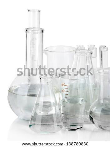 Test tubes isolated on white - stock photo