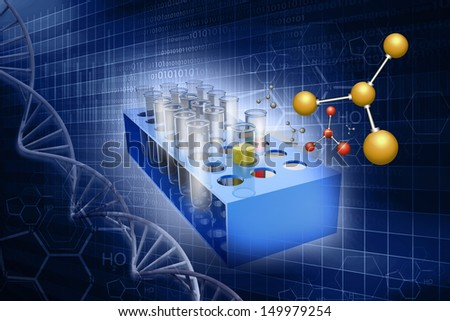 Test-tubes on abstract science   background - stock photo