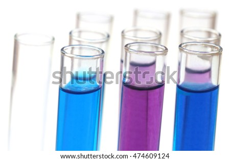 Test tubes with chemicals over white white background