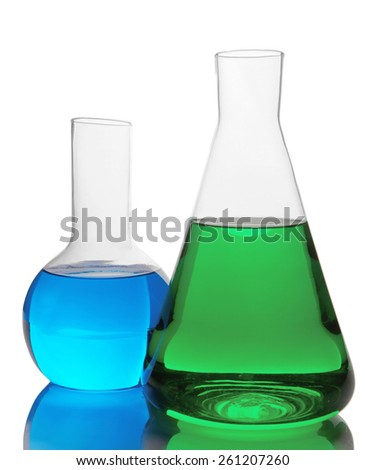 test tubes with colorful liquids isolated on white background