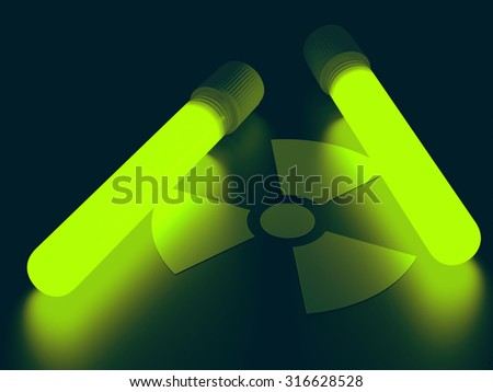 Test tubes with radioactive product illuminating radiation signal. Clipping path included. - stock photo