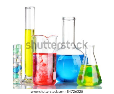 Test-tubes with red liquid isolated on white