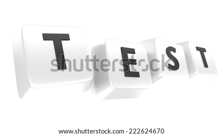 TEST written in black on white computer keys. 3d illustration. Isolated background. - stock photo