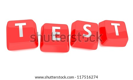 TEST written in white on red computer keys. 3d illustration. Isolated background. - stock photo