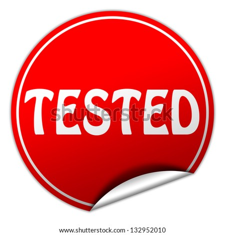 tested sticker - stock photo