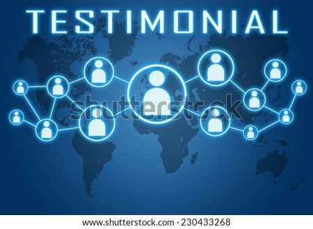 Testimonial concept on blue background with world map and social icons. - stock photo