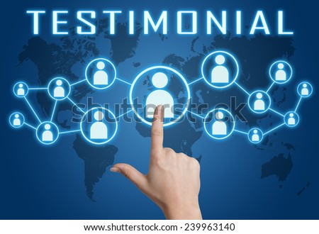 Testimonial concept with hand pressing social icons on blue world map background. - stock photo