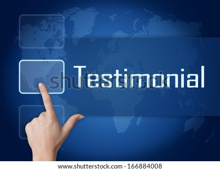 Testimonial concept with interface and world map on blue background - stock photo