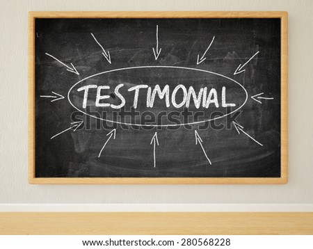 Testimonial - 3d render illustration of text on black chalkboard in a room. - stock photo