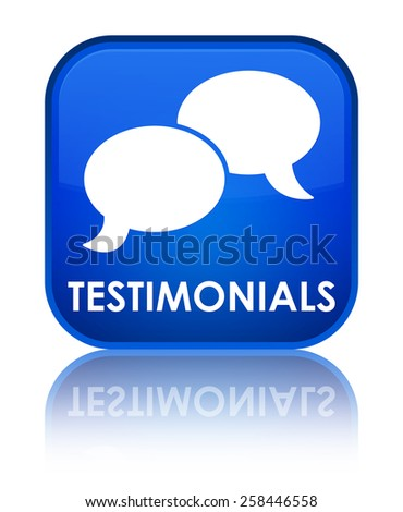 Testimonials (chat icon) blue square button - stock photo