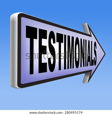 testimonials customer feedback testimonial or leave a comment arrow sign - stock photo