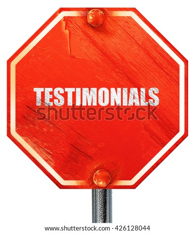 testimonials, 3D rendering, a red stop sign - stock photo