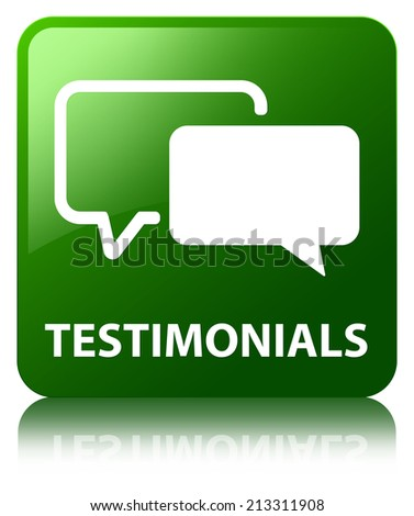 Testimonials glossy green reflected square button - stock photo