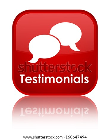 Testimonials glossy red reflected square button