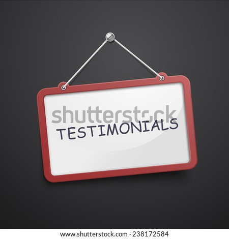 testimonials hanging sign isolated on black wall - stock photo