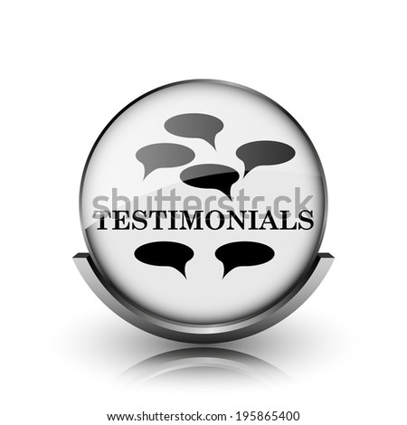 Testimonials icon. Shiny glossy internet button on white background.  - stock photo