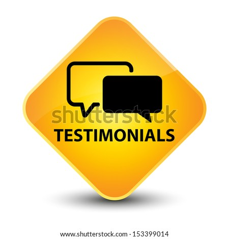 Testimonials yellow button - stock photo